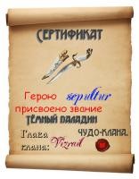 Сертификат, подтверждающий звание Тёмного паладина.